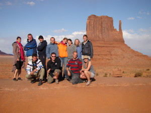 Trexpert - Westerner 2 group in front of the left Mitten in Monument Valley