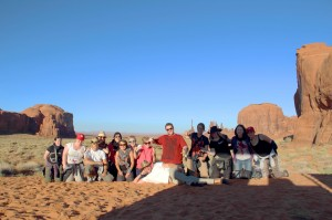 Travelling solo: tour group in Monument Valley