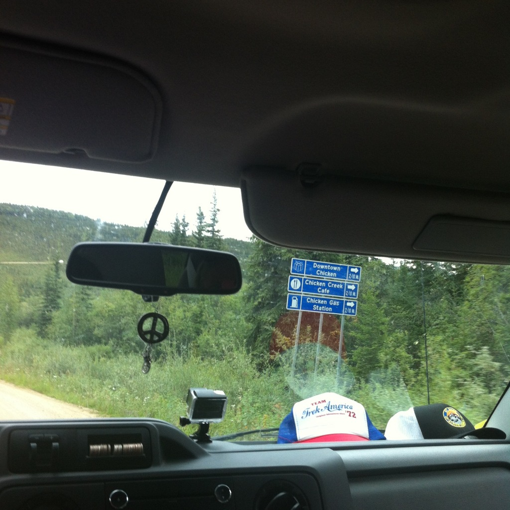 Chicken, Alaska: signpost for Chicken from the van